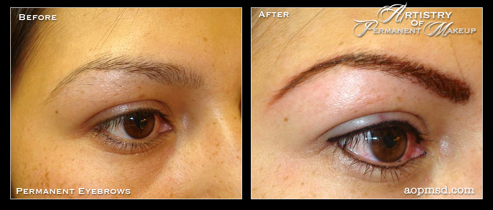 Permanent eyebrow makeup before and after fay blog for Best eyebrow tattoo san diego